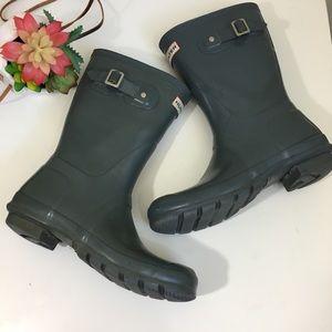 Hunter gray rain boots - original gloss short